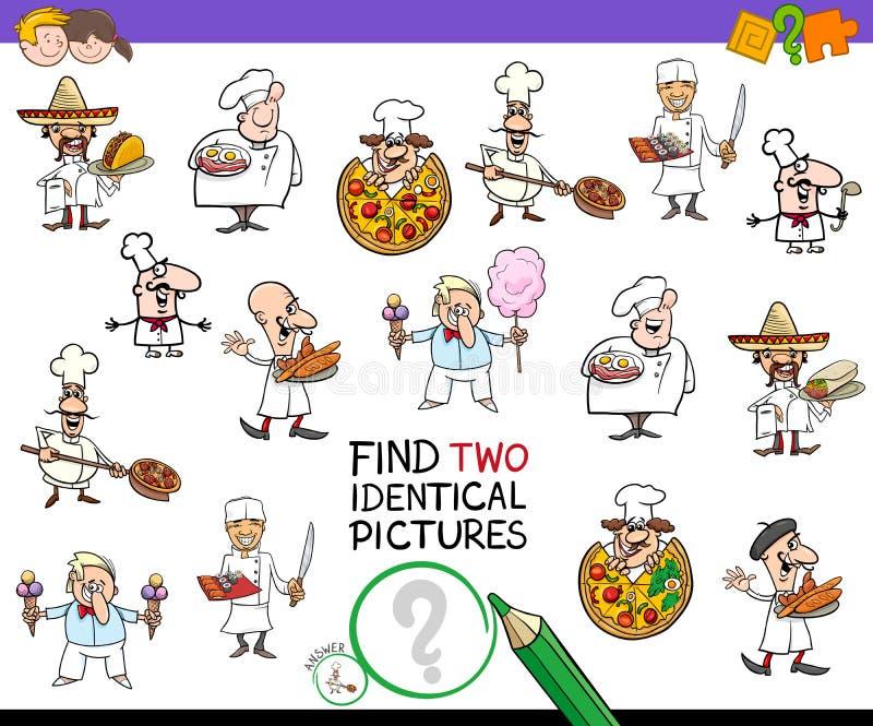 Znajduje dwa identycznego szefa kuchni charakteru gemowego dla dzieciaków ilustracja wektor