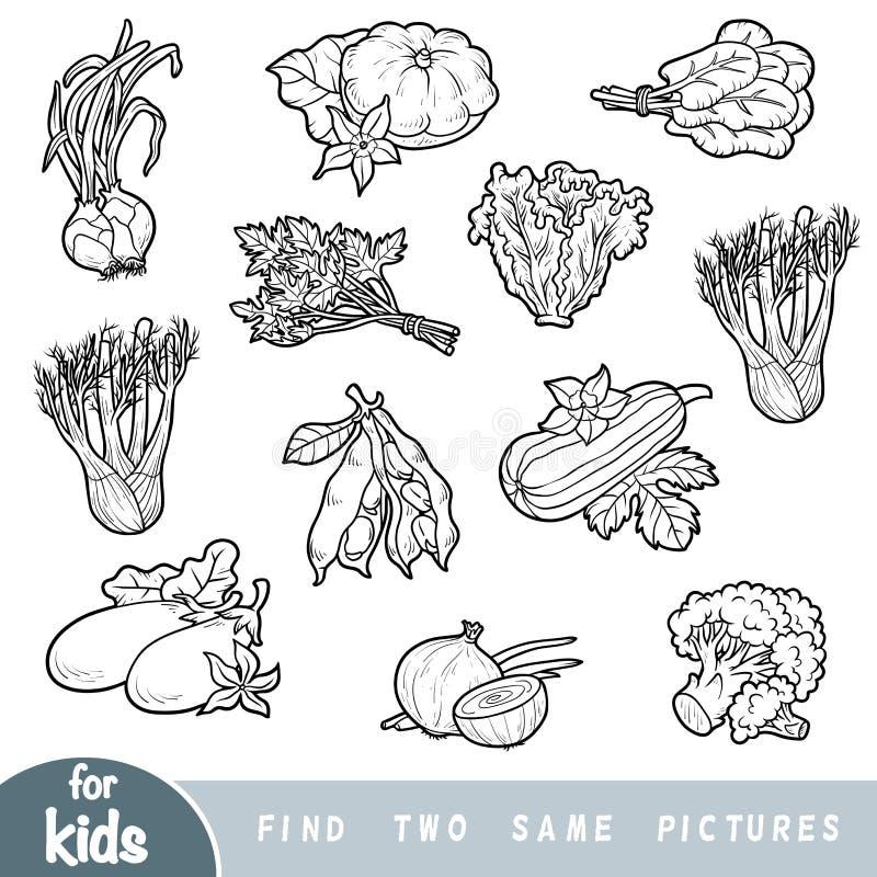 Znajduje dwa ten sam obrazki, edukaci gra dla dzieci ustawić warzywa ilustracji