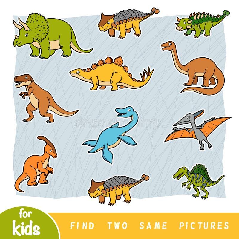 Znajduje dwa ten sam obrazki, edukacji gra, set dinosaury ilustracja wektor