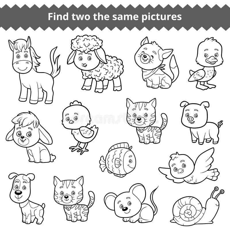 Znajduje dwa ten sam obrazki, wektorowy ustawiający zwierzęta gospodarskie ilustracja wektor