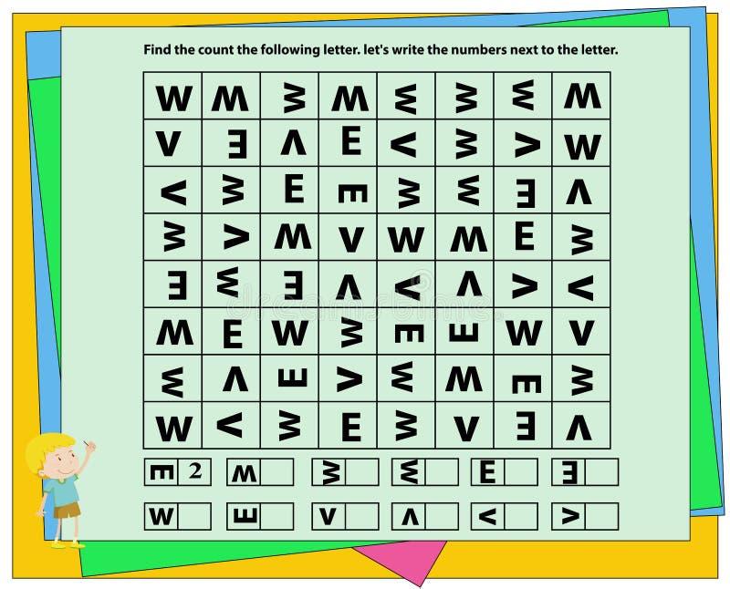 Znajduje, liczy i pisze, worksheet wizualny postrzeganie, dysleksja, postrzeganie, projekt, dziecina symbolu praca geometryczni k royalty ilustracja