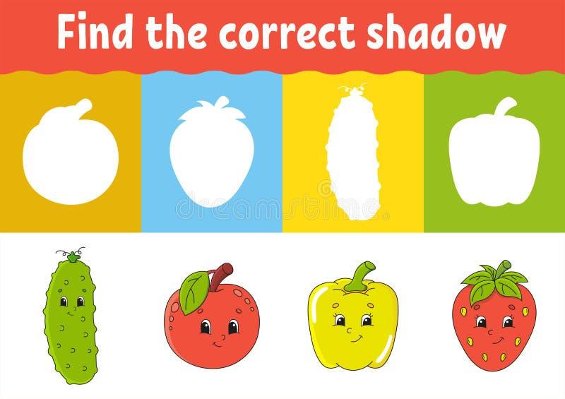 Znajduje poprawnego cień Edukacji rozwija worksheet Dopasowywanie gra dla dzieciaków Aktywności strona Łamigłówka dla dzieci Rzes ilustracji