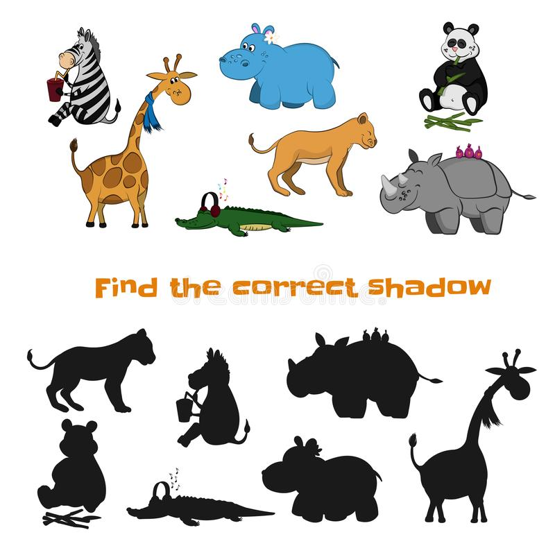 Znajduje poprawnego cień dzieci gra Zoo zwierzęta w kreskówka stylu Łamigłówka z czarną sylwetką ilustracja wektor
