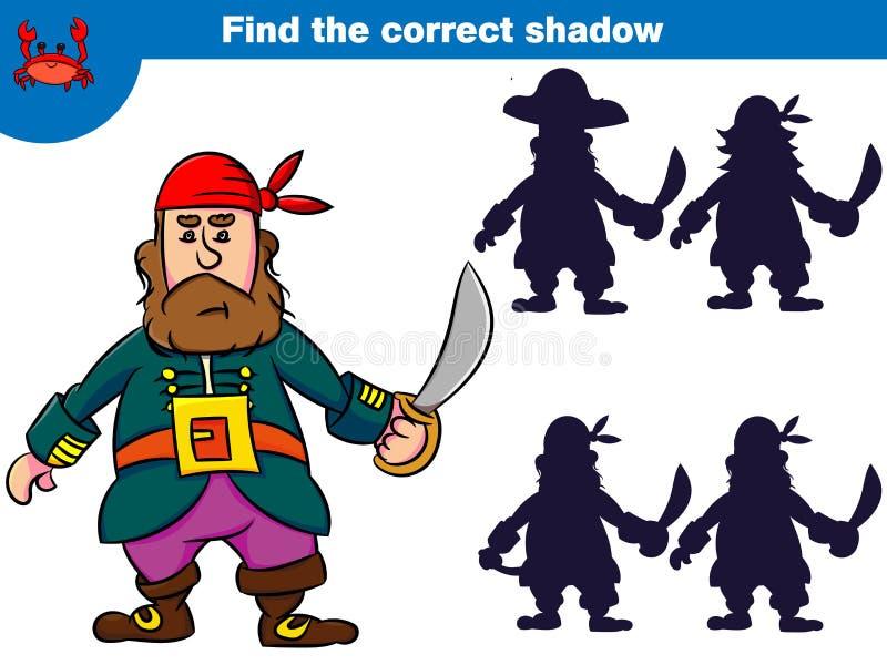 Znajduje poprawnego cień, edukaci gra dla dzieci Set kreskówka pirata charaktery również zwrócić corel ilustracji wektora ilustracji