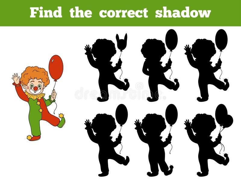 Znajduje poprawnego cień: Halloweenowi charaktery (błazen) ilustracja wektor