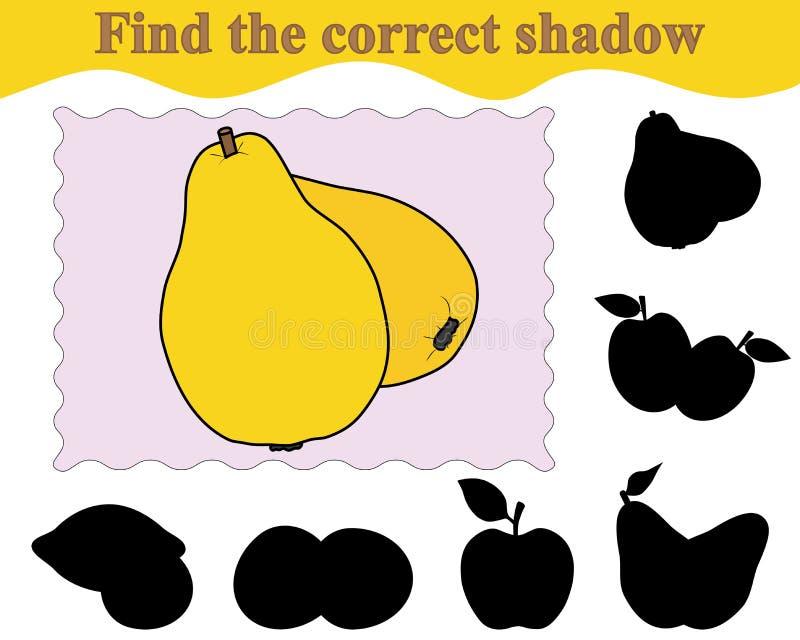 Znajduje poprawnego cień pigwy Edukacja Gra dla dzieci royalty ilustracja