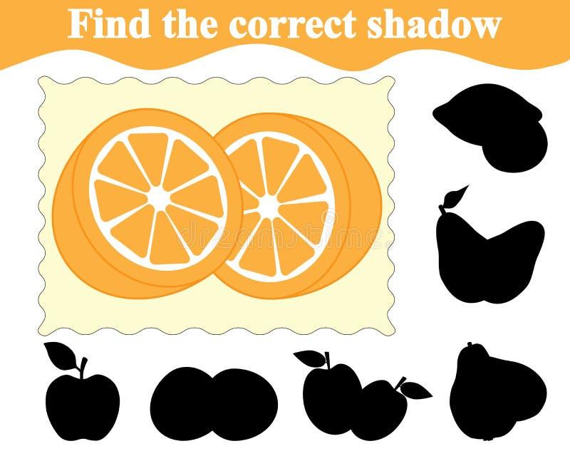 Znajduje poprawnego cień pomarańcze Edukacja Gra dla dzieci ilustracja wektor