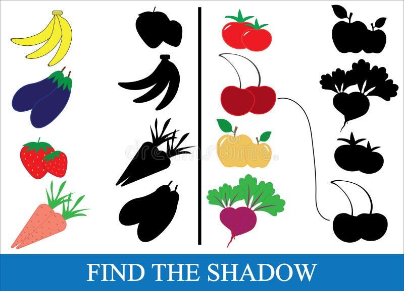 Znajduje poprawnego cień przedmioty warzywa, jagody i fr, ilustracja wektor