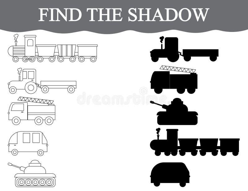 Znajduje poprawnych cienie transport, set Koloru transport Wizualna edukacyjna gra royalty ilustracja