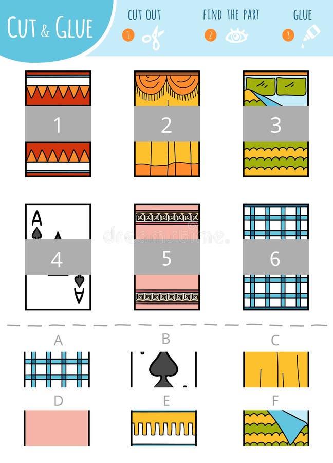 Znajduje prawą część Rżnięta i kleidło gra dla dzieci prostokąty ilustracja wektor