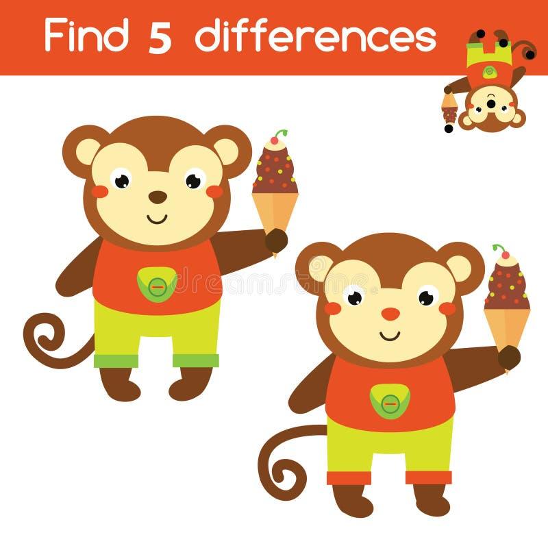 Znajduje różnic edukacyjnych dzieci gemowych Dzieciak aktywności prześcieradło z kreskówki małpą royalty ilustracja