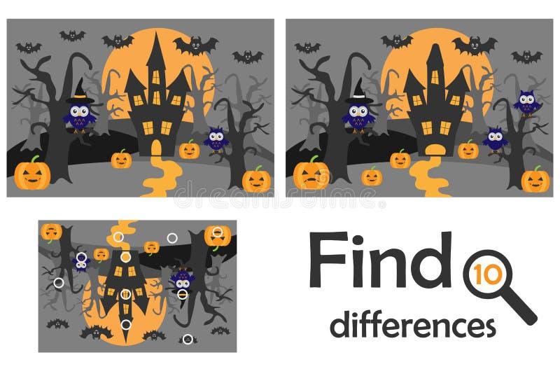 Znajduje 10 różnic, gra dla dzieci, Halloween w kreskówka stylu, edukaci gra dla dzieciaków, preschool worksheet aktywność, zadan ilustracja wektor