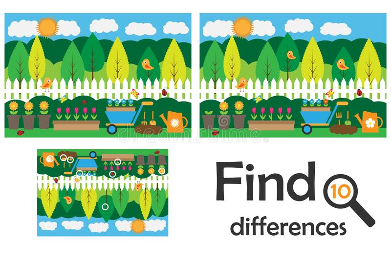 Znajduje 10 różnic, gra dla dzieci, ogrodowa kreskówka, edukacji gra dla dzieciaków, preschool worksheet aktywność, zadanie dla ilustracji