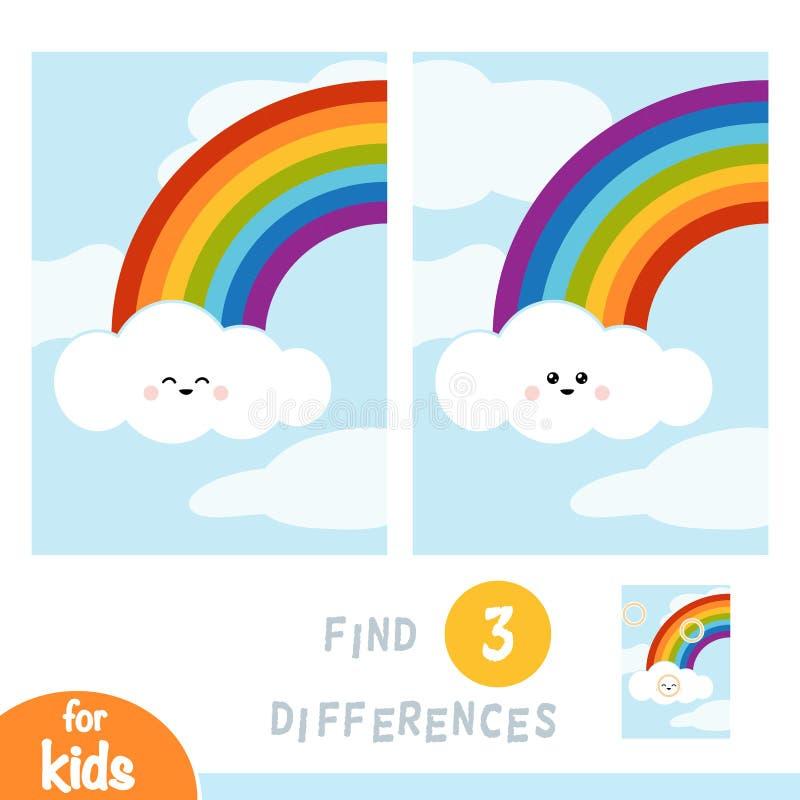 Znajduje różnicy, edukacji grę, tęczę i chmury w niebieskim niebie, royalty ilustracja