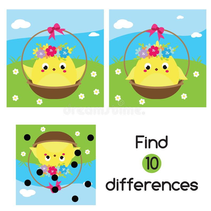 Znajduje różnicy Edukacyjni dzieci gemowi Dzieciak aktywności zabawy strona słodkie kurczaka okrąg barwiący Easter jajek eps10 as ilustracji