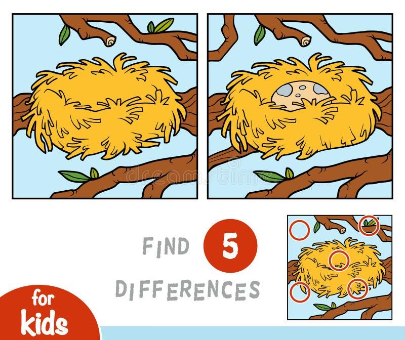 Znajduje różnicy, gra dla dzieci, gniazdeczko royalty ilustracja