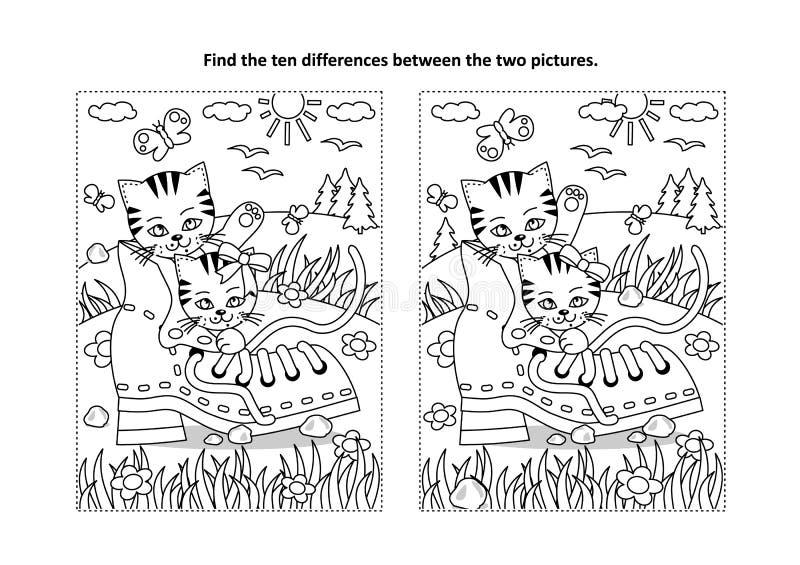 Znajduje różnicy kolorystyki, łamigłówki wizualną stronę z i ilustracja wektor