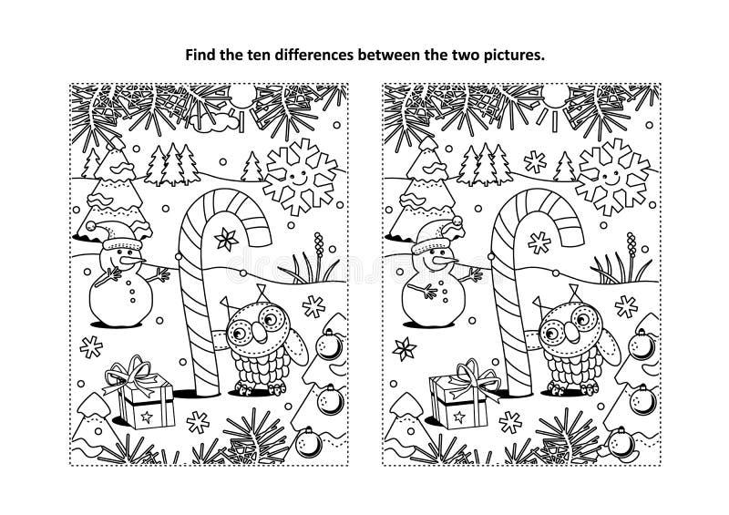 Znajduje różnicy kolorystyki i łamigłówki wizualną stronę z magiczną cukierek trzciną ilustracja wektor