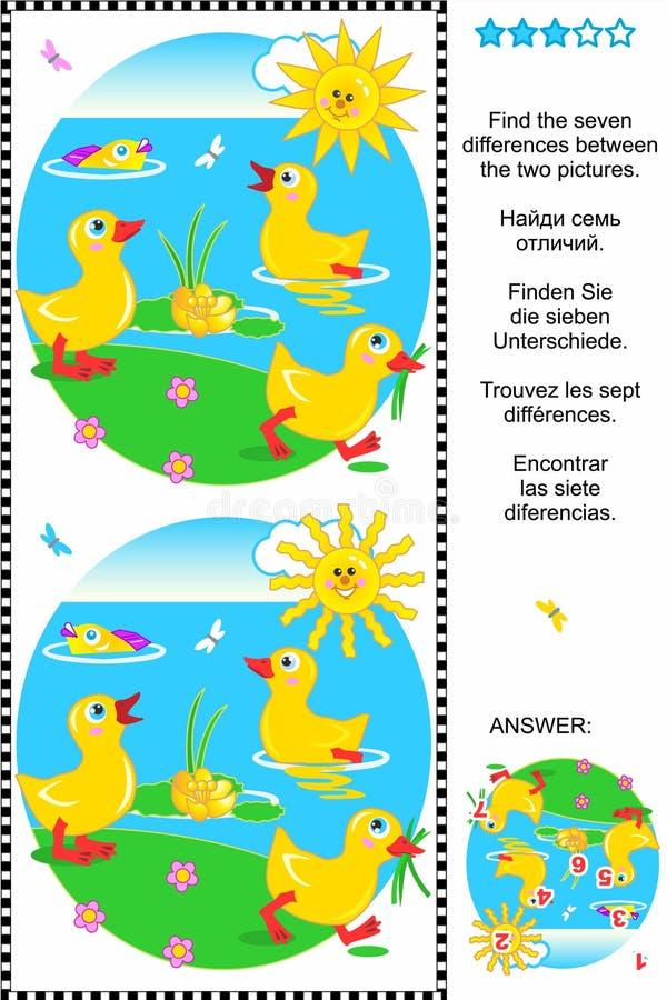 Znajduje różnicy wizualną łamigłówkę - kaczątka ilustracja wektor