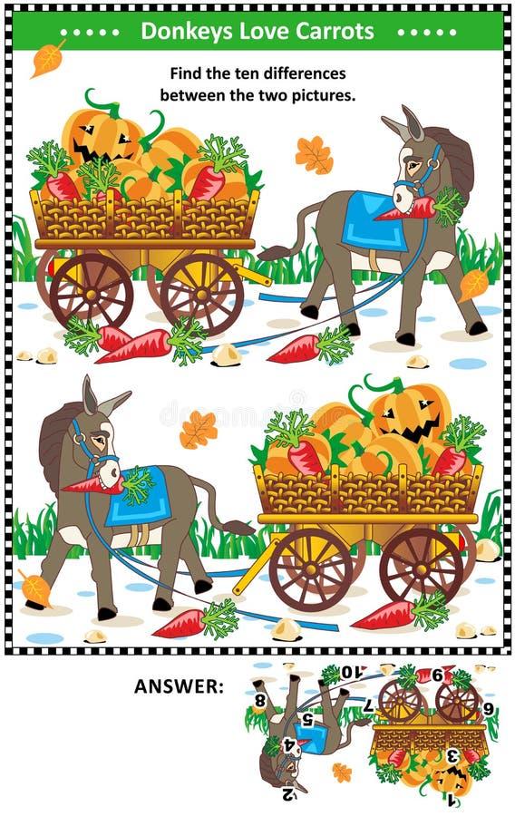 Znajduje różnicy wizualną łamigłówkę z osłem i marchewkami ilustracja wektor