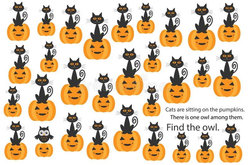 Znajduje sowy wśród kotów na baniach, Halloween zabawy edukaci łamigłówki gra dla dzieci, preschool worksheet aktywność dla dziec ilustracji