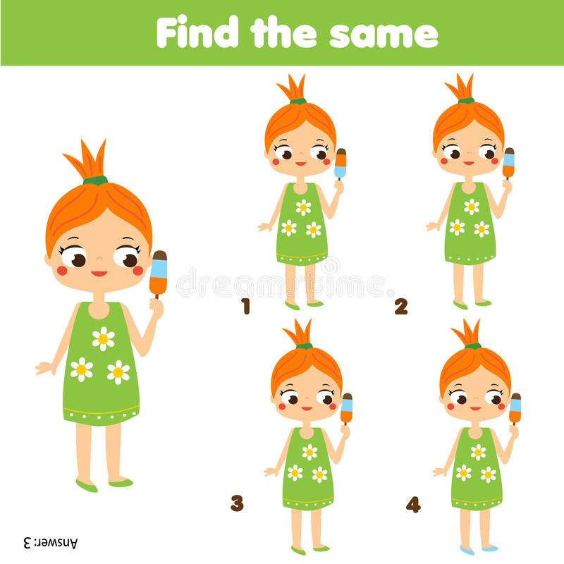 Znajduje ten sam obrazków dzieci edukacyjną grę Znajduje ten sam lato dziewczyny royalty ilustracja
