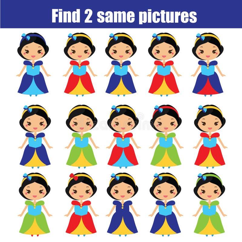 Znajduje ten sam obrazków dzieci edukacyjną grę Znajduje ten sam princess ilustracji