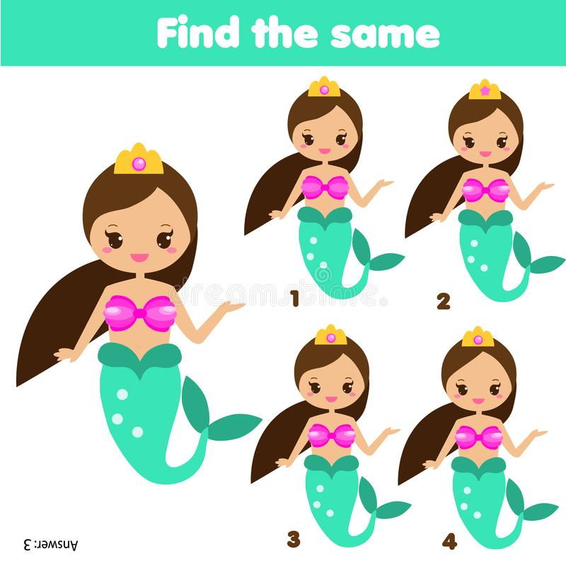 Znajduje ten sam obrazków dzieci edukacyjną grę Znajduje ten sam syrenki royalty ilustracja