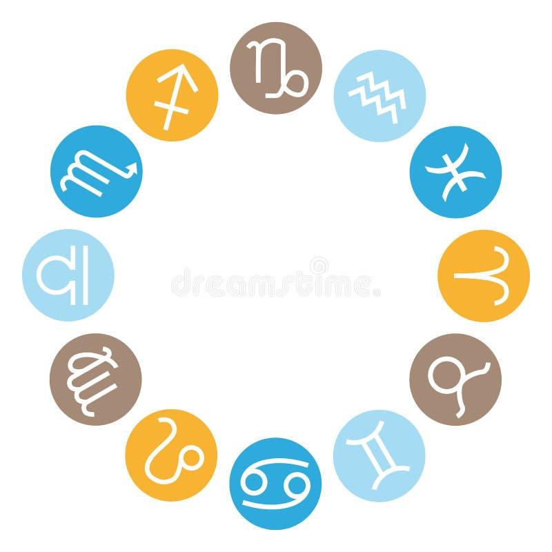 12 znaków astrologiczny koło Wektorowe zodiak ikony ustawiać royalty ilustracja