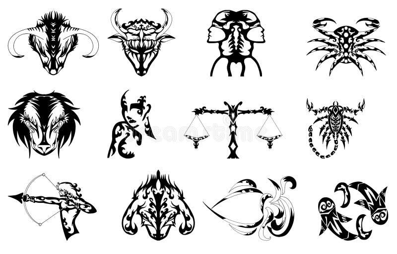 znaków tatuażu zodiak royalty ilustracja