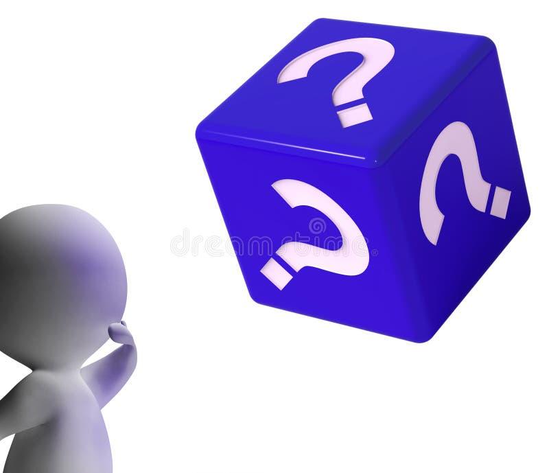 Znaków Zapytania kostka do gry przedstawień symbol Dla informaci ilustracja wektor