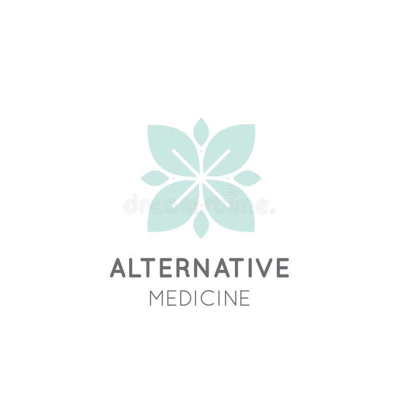 Znak Alternatywna medycyna IV witaminy terapia, starzenie się, Wellness, Ayurveda, Chińska medycyna Holistyczny centre royalty ilustracja
