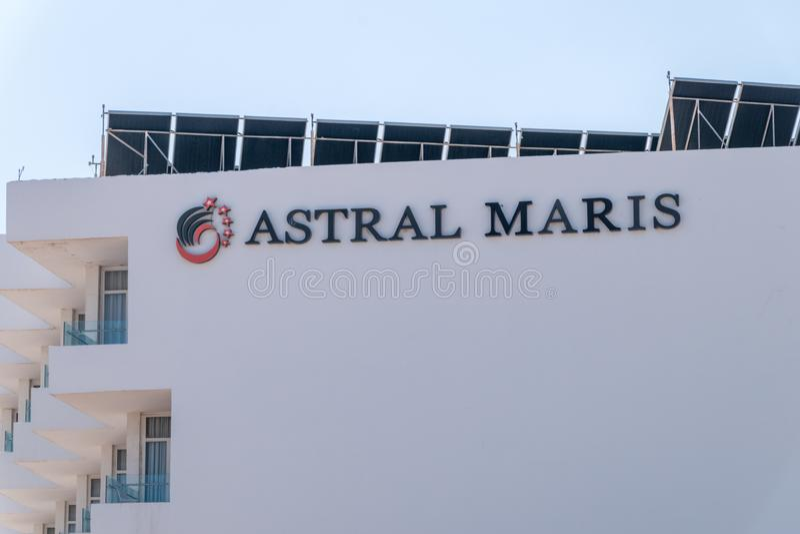 Znak Astralny Maris hotel w Eilat obrazy stock