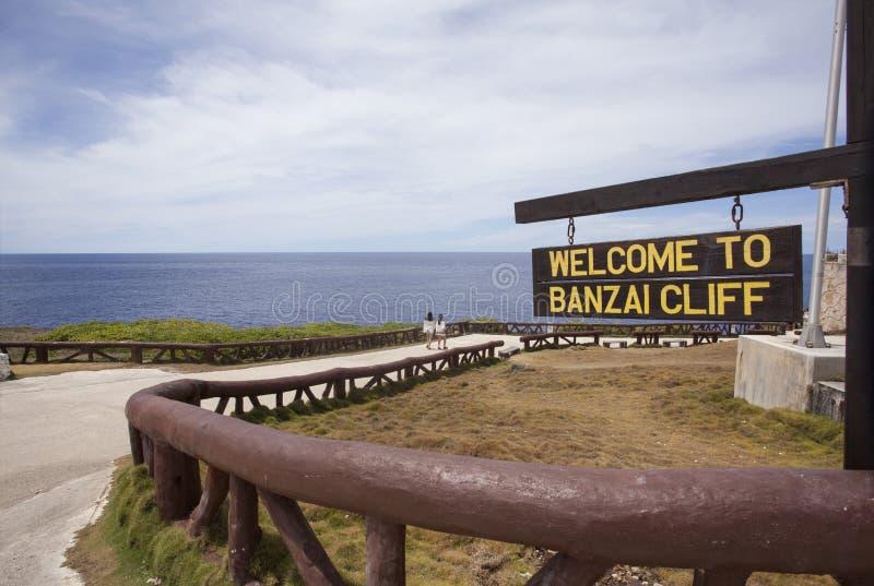 Znak Banzai faleza, Saipan obraz royalty free