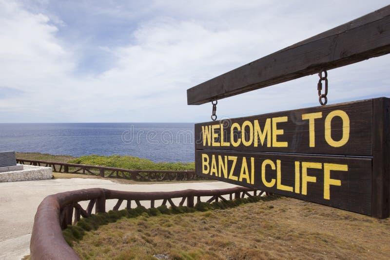 Znak Banzai faleza, Saipan fotografia stock