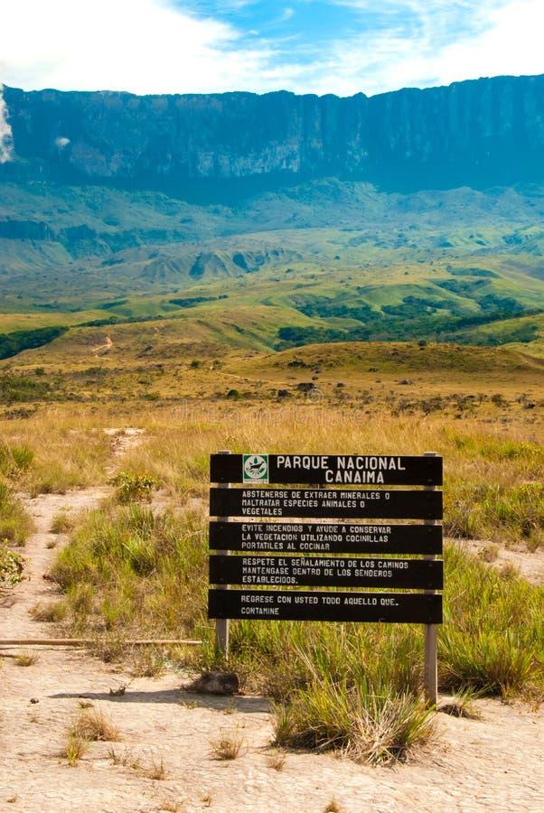Znak Canaima park narodowy, Wenezuela zdjęcia royalty free