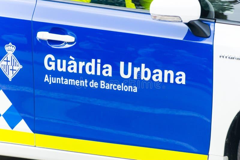 Znak Catalonian Miastowy Strażowy Guardia Urbana de Barcelona Miejska siły policyjne Barcelona obraz stock