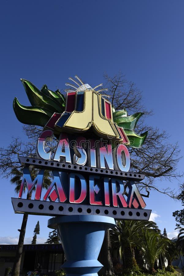Znak dla kasyna w Funchal maderze Portugalia zdjęcie royalty free