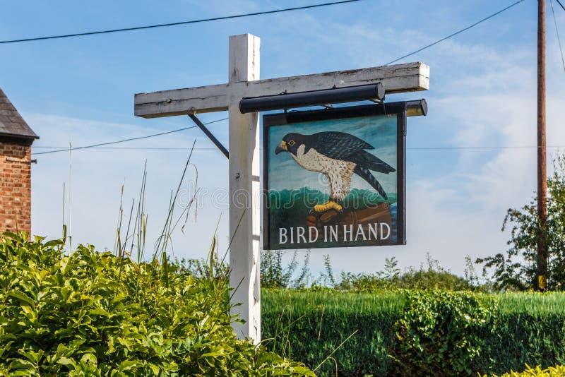 Znak dla ptaka w ręce obrazy royalty free
