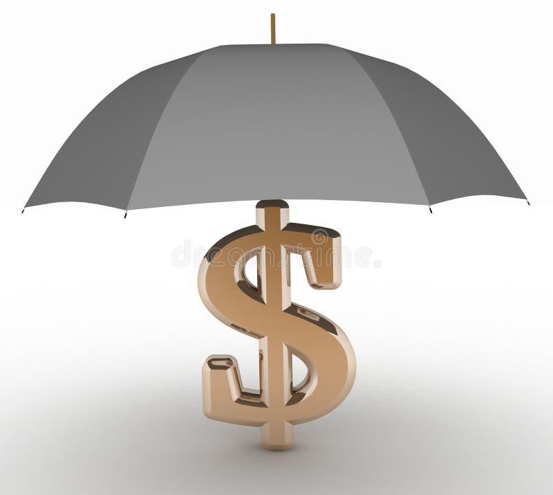 Znak dolar z parasolem