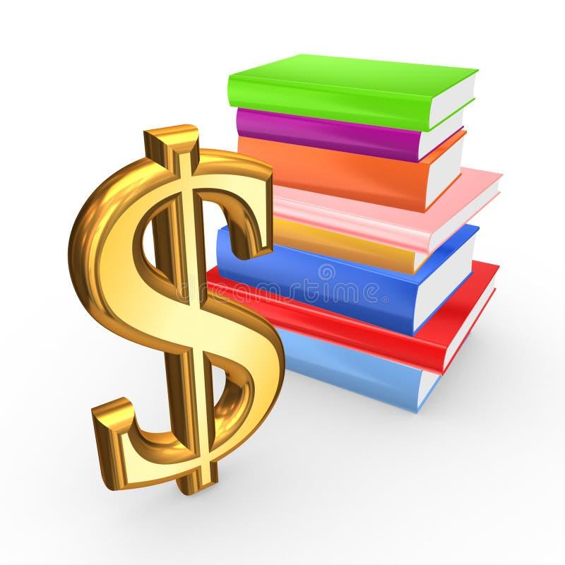 Znak dolarowe i kolorowe książki. ilustracja wektor
