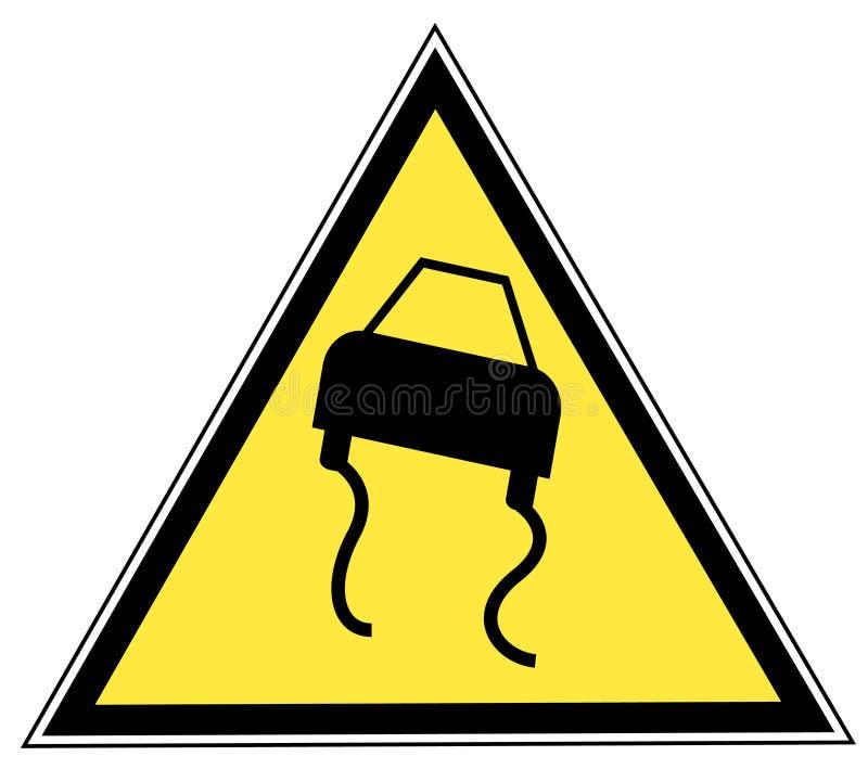 znak drogowy śliski ilustracja wektor