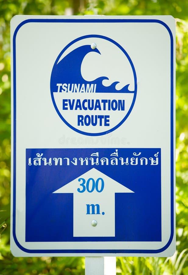 znak ewakuacyjny trasy tsunami zdjęcie stock