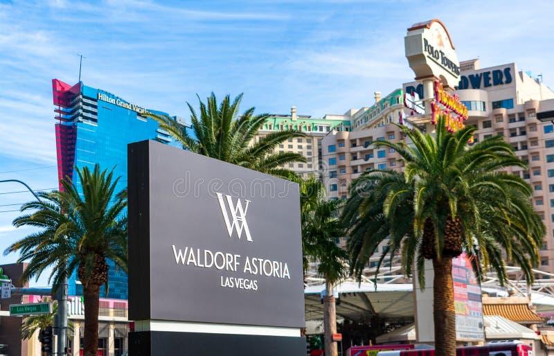 Znak hotelu Waldorf Astoria luxury na Pasku Las Vegas zdjęcie stock