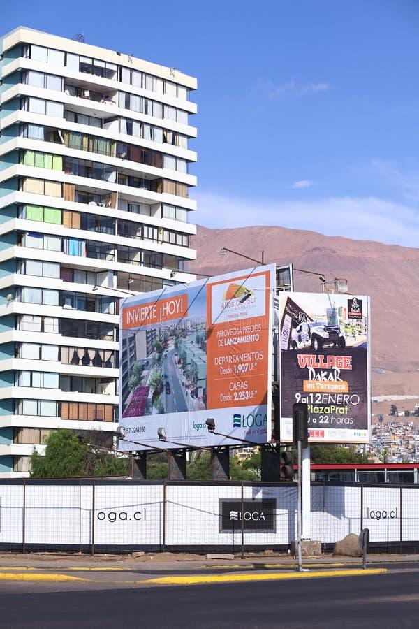 Znak Informuje O mieszkania i domu sprzedażach w Iquique, Chile obraz royalty free