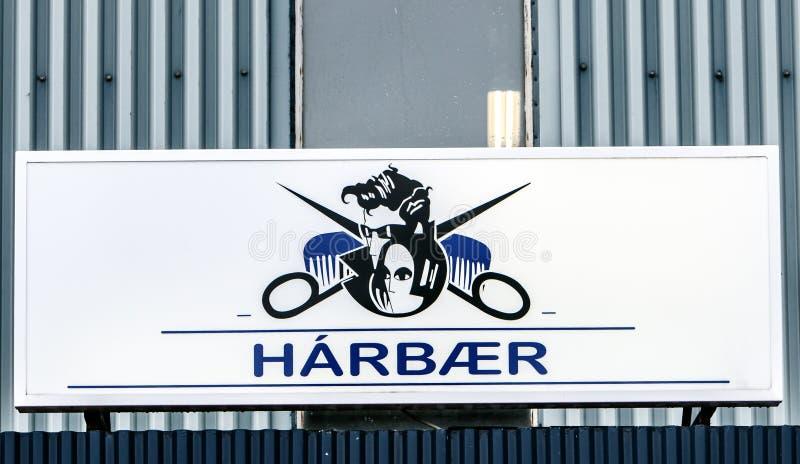 Znak Islandzki fryzjer zdjęcia stock