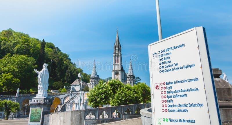 Znak kierunek przed bazyliką Lourdes, Francja obraz royalty free