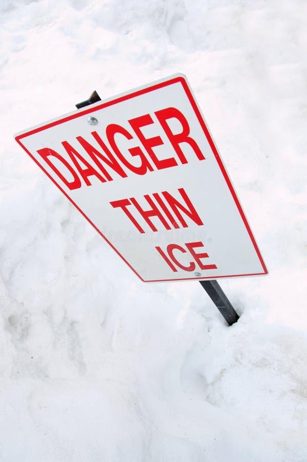 znak lodowe chudy ostrzeżenie fotografia royalty free