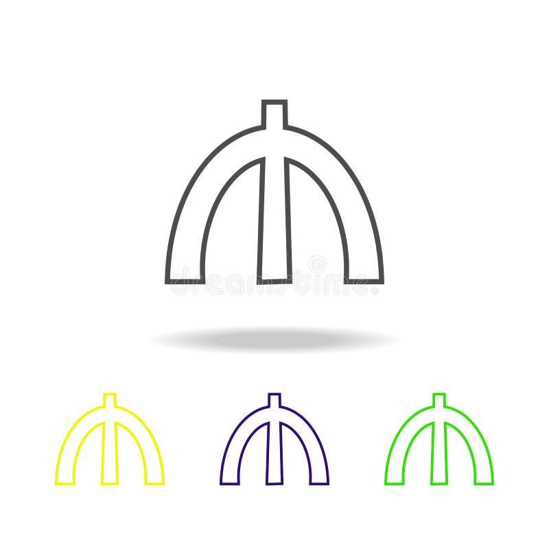 znak manat stubarwne ikony Cienka kreskowa ikona dla strona internetowa projekta i app rozwoju Premia barwił sieci ikonę z cienie royalty ilustracja