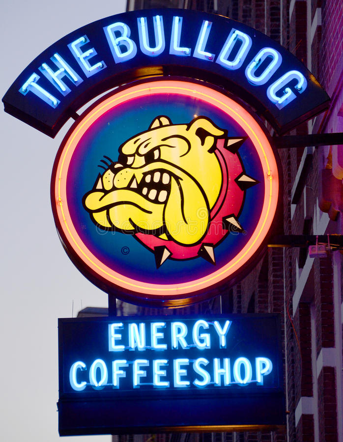 Znak marihuany sklep z kawą zdjęcie stock